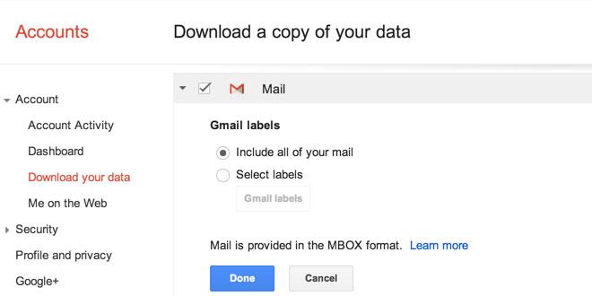 Takeout Gmail