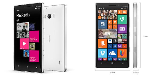 Dimensiunile Nokia Lumia 930