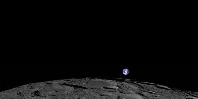 Earth rising beyond the Moon