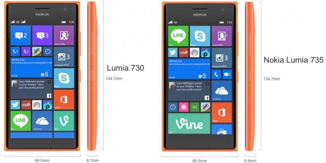 Lumia 735 size