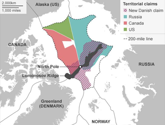 Revendicările teritoriale în regiunea arctică / imagine BBC