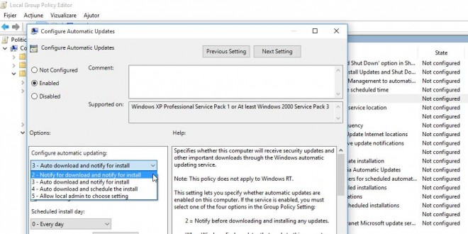 optiuni actualizare Windows 10