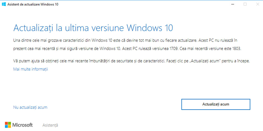 Asistent de actualizare Windows 10